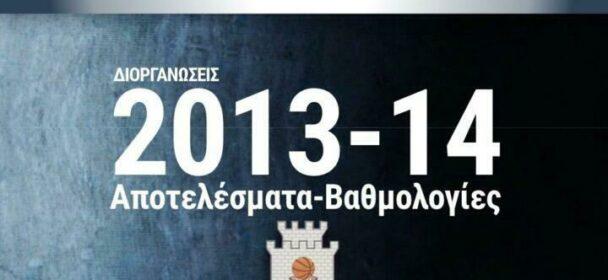 ΕΚΑΣΘ | Αγωνιστικές, αποτελέσματα κι η βαθμολογία (Διοργανώσεις 2013-14)