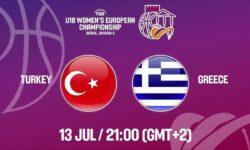 Τουρκία – Ελλάδα . Ζωντανά στις 22:00 από τα Σκόπια για το Ευρωπαϊκό Νεανίδων ( ΗΜΙΤΕΛΙΚΟΣ β΄ κατηγορίας)