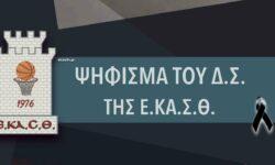 Ψήφισμα του ΔΣ της ΕΚΑΣΘ
