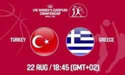 Τουρκία – Ελλάδα. Ζωντανά στις  19:45  από τα Σκόπια για  το Ευρωπαϊκό Πρωτάθλημα Κορασίδων