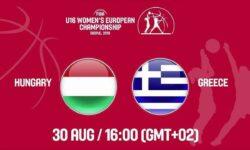Ουγγαρία – Ελλάδα. Ζωντανά στις  17:00  από τα Σκόπια για  την 11η θέση στο Ευρωπαϊκό Πρωτάθλημα Κορασίδων
