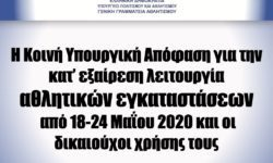 ΓΓΑ | Η Κοινή Υπουργική Απόφαση για την κατ' εξαίρεση λειτουργία αθλητικών εγκαταστάσεων από 18-24 Μαΐου 2020 και οι δικαιούχοι χρήσης τους