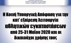 ΓΓΑ | Η Κοινή Υπουργική Απόφαση για την κατ' εξαίρεση λειτουργία αθλητικών εγκαταστάσεων από 25-31 Μαΐου 2020 και οι δικαιούχοι χρήσης τους