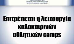 ΓΓΑ   Επιτρέπεται η λειτουργία καλοκαιρινών αθλητικών camps. Οι γενικές οδηγίες της Υγειονομικής Επιστημονικής Επιτροπής