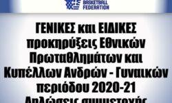 ΕΟΚ | ΓΕΝΙΚΕΣ και ΕΙΔΙΚΕΣ προκηρύξεις Εθνικών Πρωταθλημάτων και Κυπέλλων Ανδρών – Γυναικών περιόδου 2020-21 – Δηλώσεις συμμετοχής