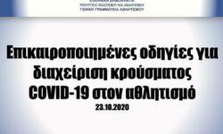ΓΓΑ   Επικαιροποιημένες οδηγίες για διαχείριση κρούσματος COVID-19 στον αθλητισμό (23.10.2020)