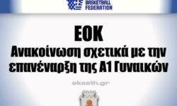 Ανακοίνωση ΕΟΚ (σχετικά με την επανέναρξη του πρωταθλήματος της Α1 Γυναικών)