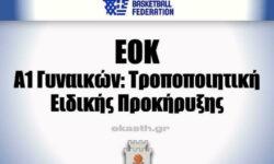 EOK | Α1 Γυναικών: Τροποποιητική Ειδικής Προκήρυξης
