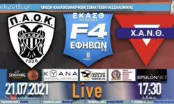 ΠΑΟΚ – ΧΑΝΘ | F4 Τελική φάση ΕΦΗΒΩΝ (5/6 αγ) 🔴 Live Streaming από την ΕΚΑΣΘ (21.07.2021 17.30)
