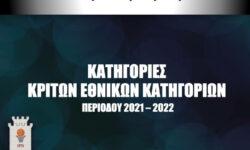 ΚΑΤΗΓΟΡΙΕΣ ΚΡΙΤΩΝ ΕΘΝΙΚΩΝ ΚΑΤΗΓΟΡΙΩΝ ΠΕΡΙΟΔΟΥ 2021 – 2022