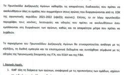 Υγειονομικό πρωτόκολλο διεξαγωγής αγώνων (ΕΟΚ της 01.09.2021)